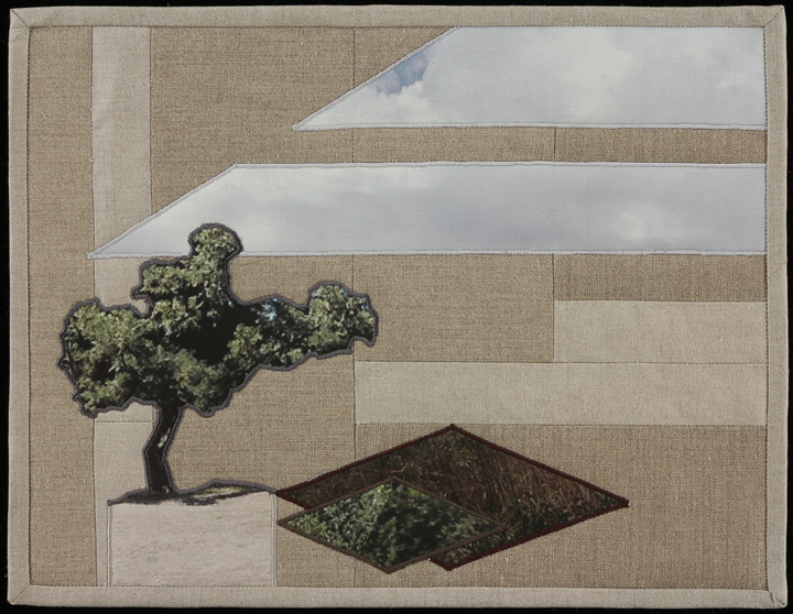 "When I Fish Around I Feel The Haunting III, 2014 16.5"" x 20.5"" framed Quilt: linen canvas, muslin, batting, thread"