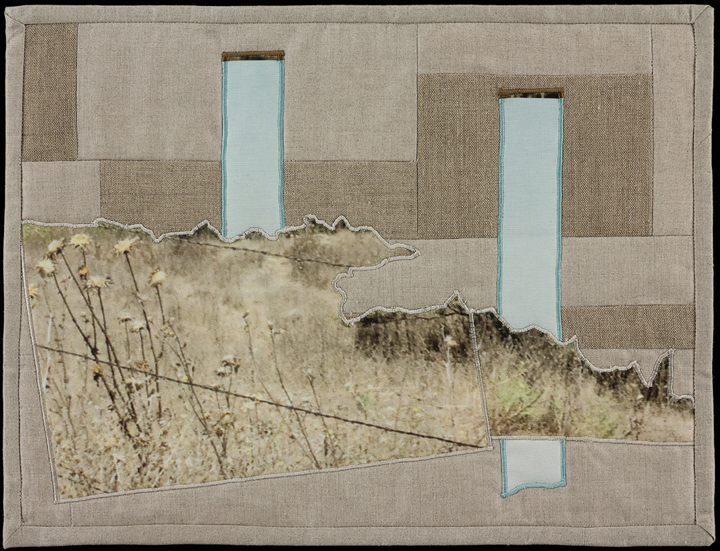 "When I Fish Around I Feel The Haunting IV, 2014 16.5"" x 20.5"" framed Quilt: linen canvas, muslin, batting, thread"