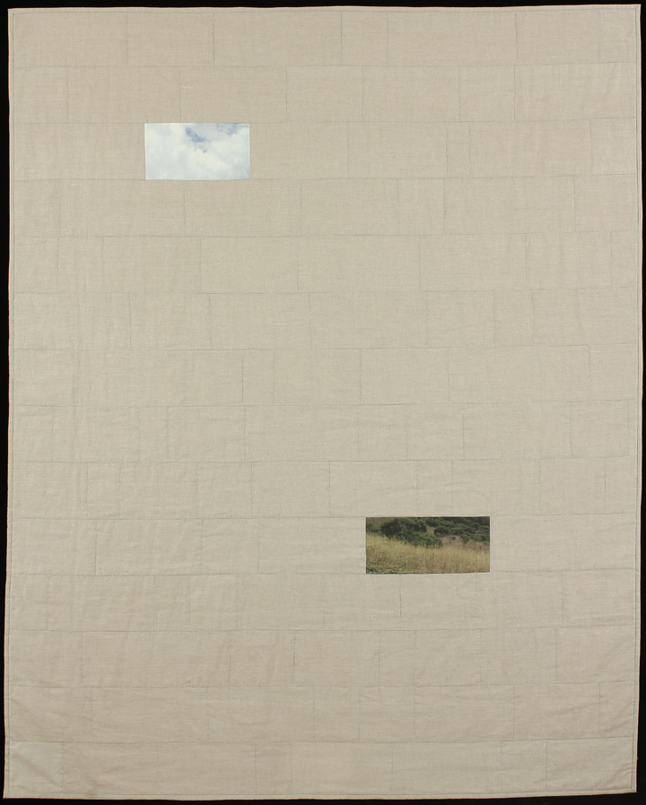 "Sky Over Field, 2013 77""x62"" Quilt: Linen canvas, cotton, batting, thread"