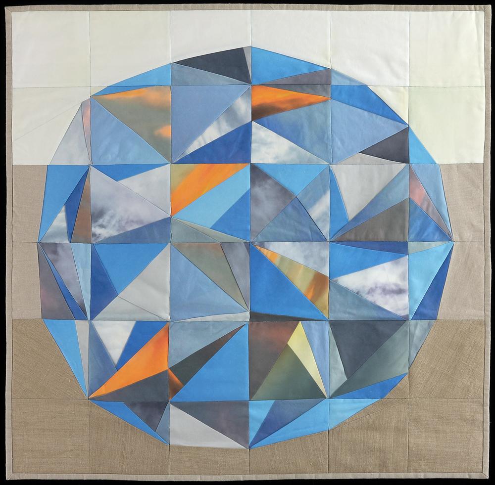 "Sky Orb, 2015    35""x36""    Quilt: linen canvas, thread, batting, cotton fabric"