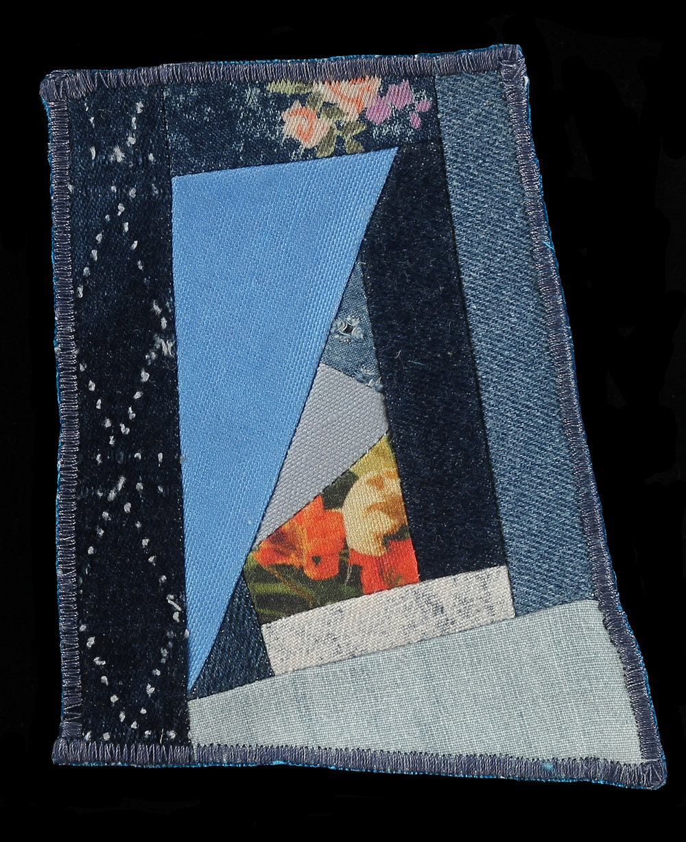 "CA Patch , 2016  Odd sized, 5""x4""  Denim, photography on linen cotton canvas"