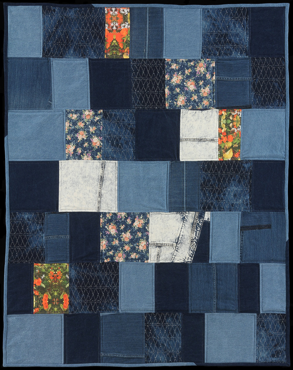 "Coastal Picnic,  2016  52""x42""  Quilt: Denim, photography printed on linen cotton canvas, thread, batting, cotton"