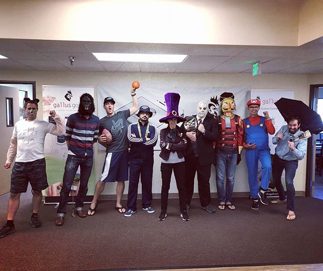 Halloween. Gym rat, gorilla, dude perfect, O.G., mad hatter, nacho libre, nutcracker, Mario, san diego weatherman
