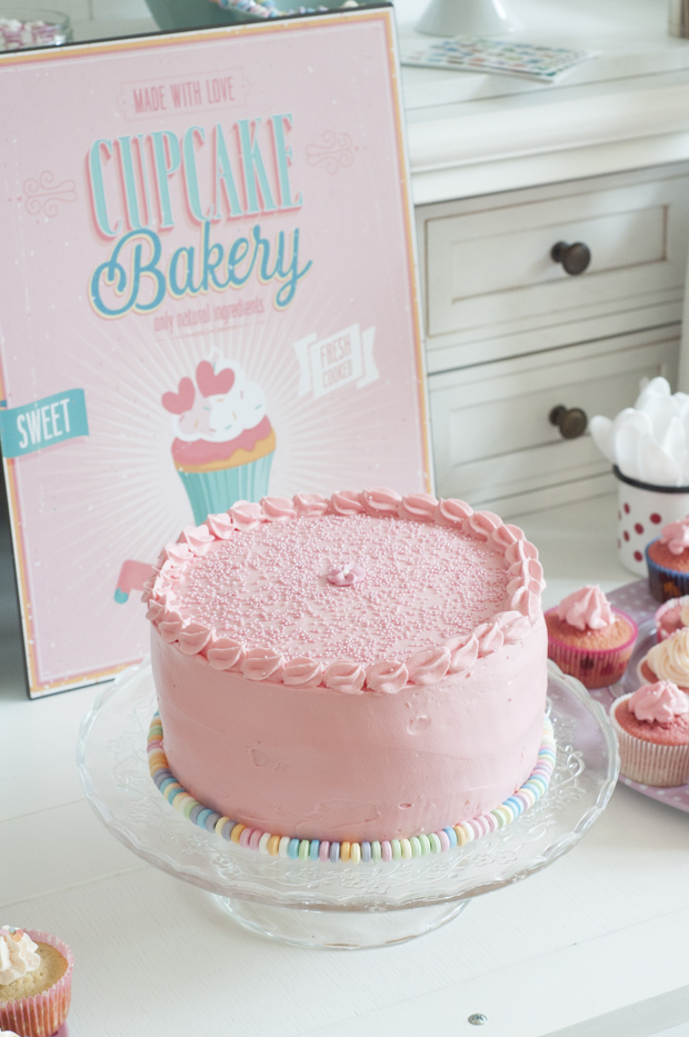 Lindas Vanilla And Strawberry Pink Layer Cake With Traditional