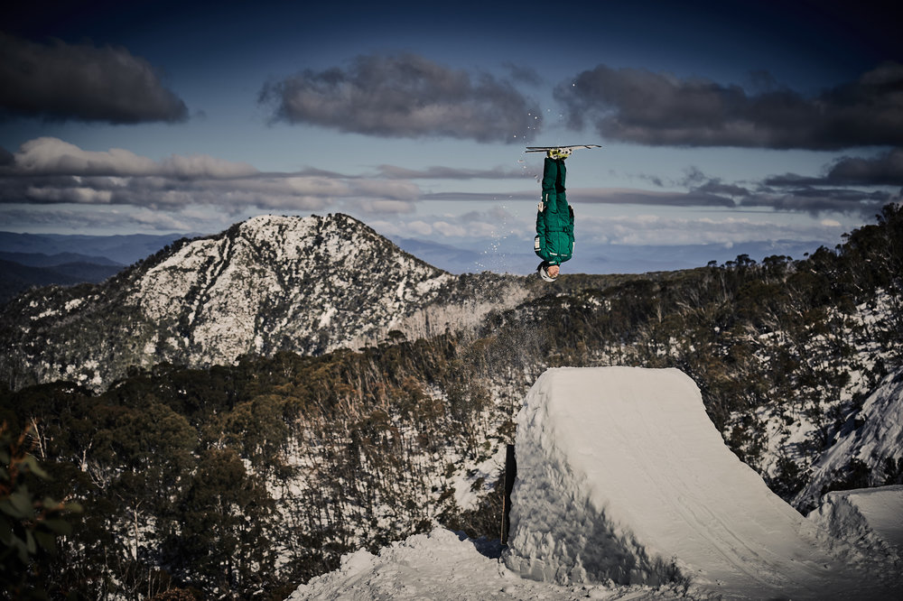 Lydia Lassila gets inverted at the Jacqui Cooper Jump site at Mt Buller.