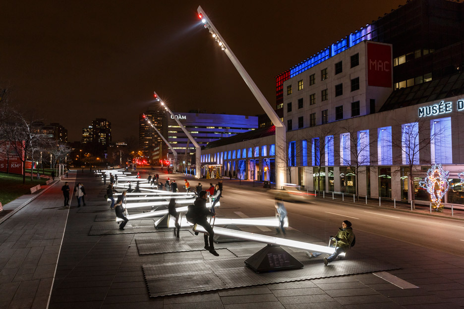 The 30 LED embedded seesaws that make up Montreal's    'Impulse'    installation.