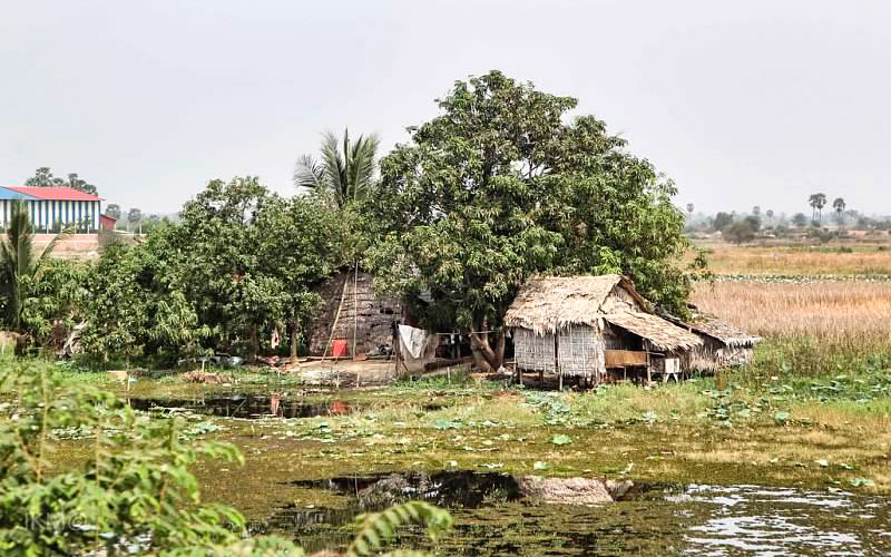 A typical rural Cambodian house (not in the Tabitha savings program). 85 percent of Cambodia's population lives in rural areas