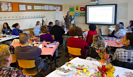 Day Four – Principal Undine Schell Schmidt presenting an overview of Witthoeft Oberschule's curriculum.
