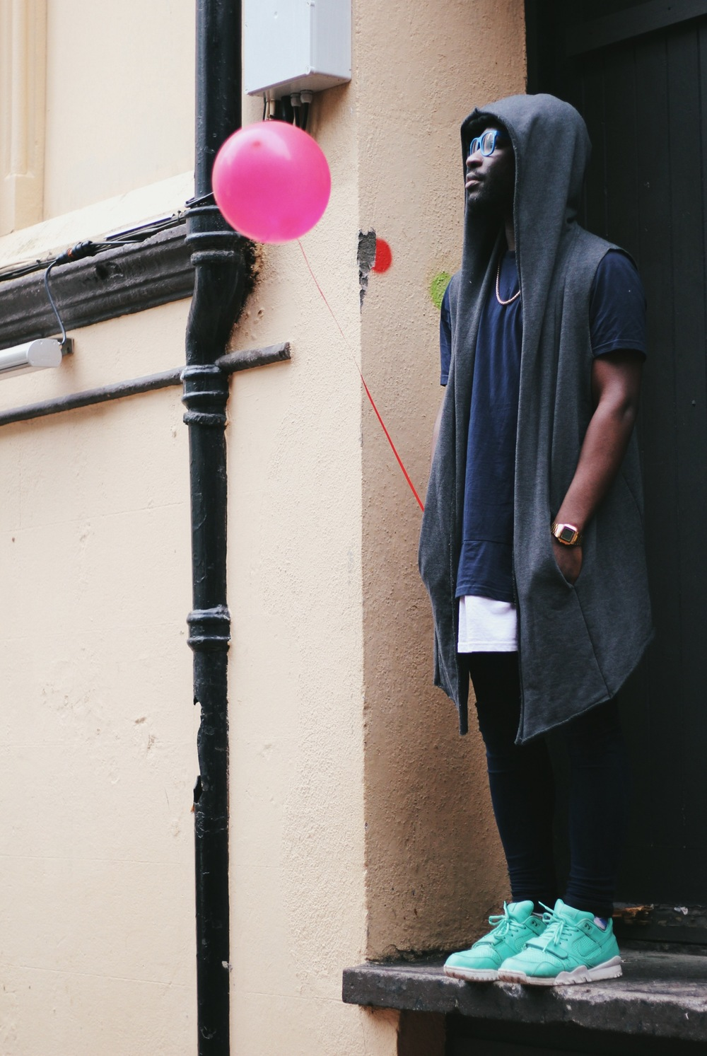 This shot was inspired by Banksy's 'Girl with a balloon' piece...