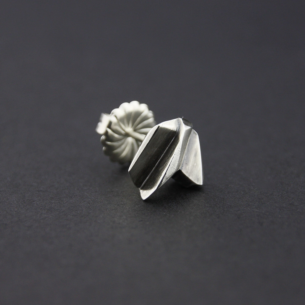Leonie Simpson Jewellery Fractured Facet Studs sterling silver oxidised