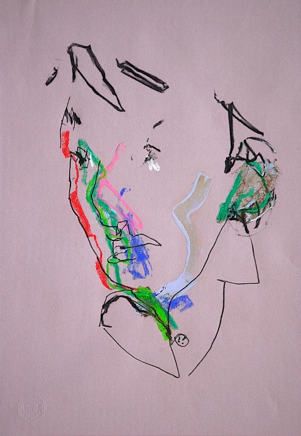 JE NAGE DANS TES YEUX 2010 papier, crayon pastel peinture  60x45 cm 1200 .jpg