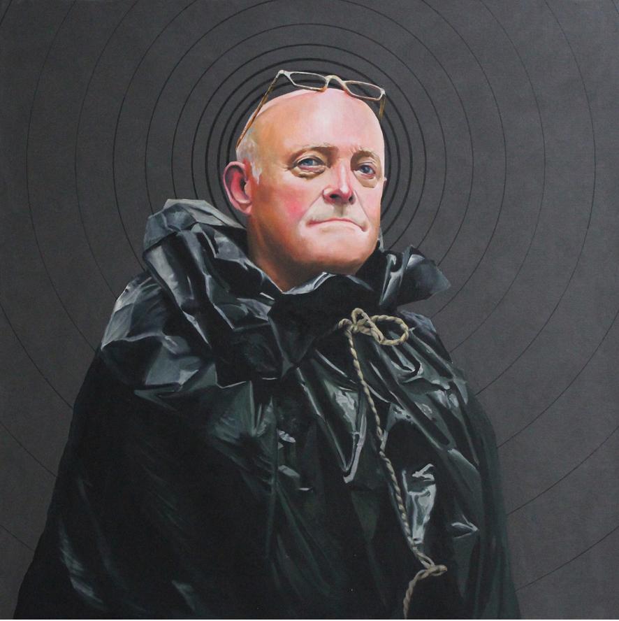 Autoportrait (2010) 100 x 100 cm huile sur toile fond graphite noir