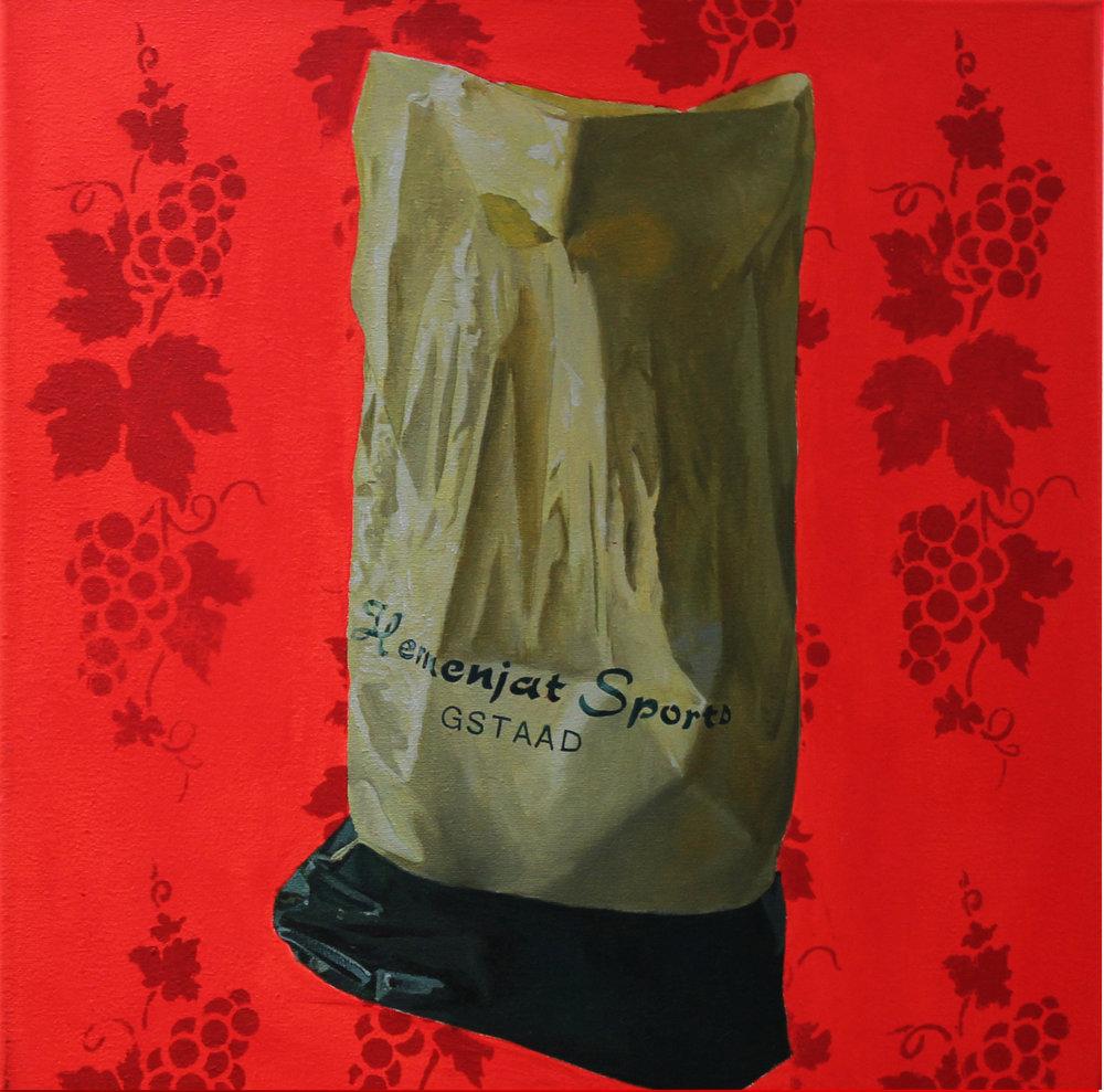 Série «Sacs du bout du monde », La Suisse (2008), 40 x 40 cm, huile sur toile, fond acrylique fluo