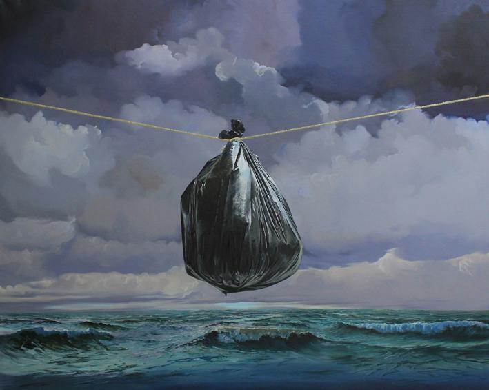 """Série """"les sacs poubelle"""" (2011) 160 x 200 cm  huile sur toile"""