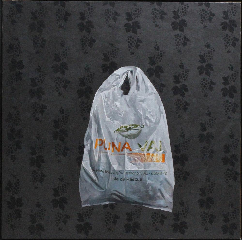 Série «Sacs du bout du monde », L'île de Pâques (2010), 40 x 40 cm, huile sur toile, fond acrylique graphite et noir mat