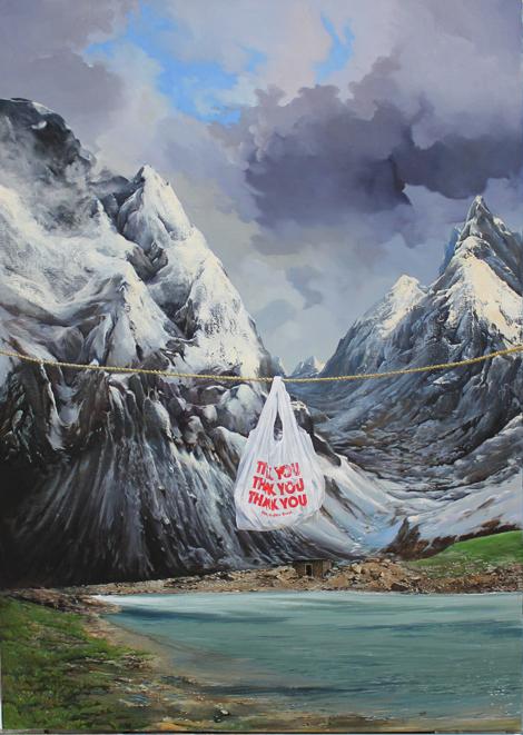 """"""" Thank you """" (2012) peinture a l'huile 162 x 114 cm"""