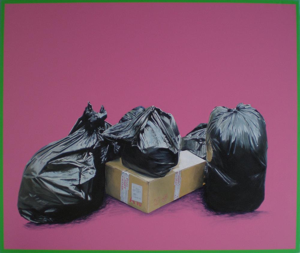"""Série """" Les sacs poubelle """" Rose (2008) 130 x 162 cm huile sur toile, fond acrylique"""