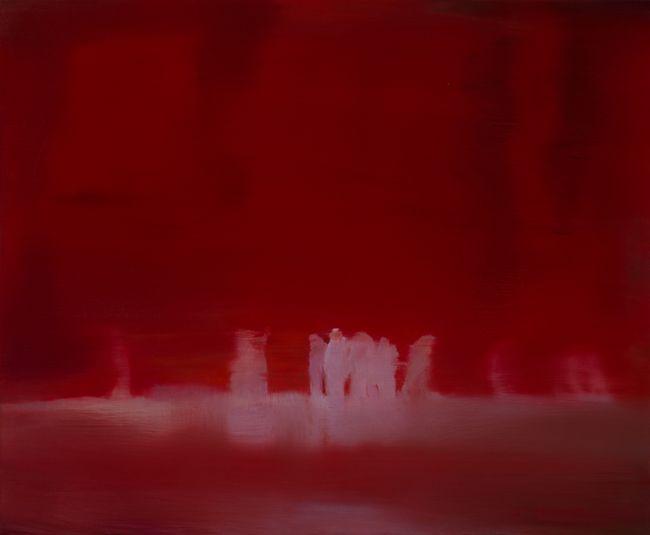 Le rideau rouge huile sur toile 46 x 55 cm