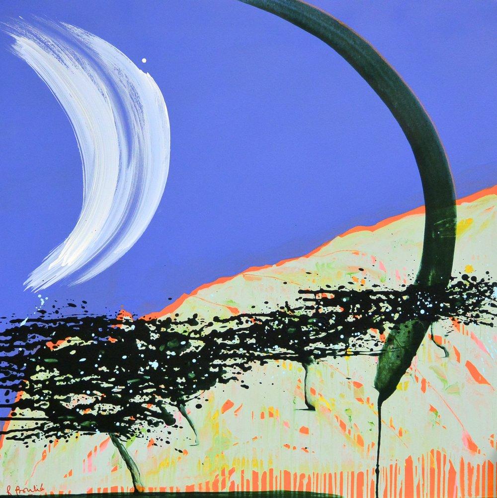 A bloc XIX, 2016 acrylique et crayon sur toile 100 x 100 cm