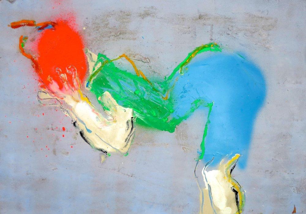 Dépasser les limites (2017) Papier, acrylique, gesso, aérosol, pastel, fusain 42 x 59 cm