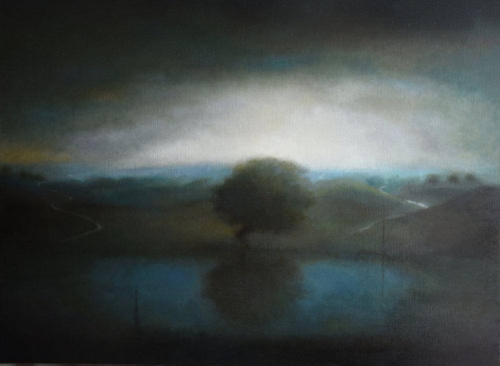 L'heure bleue (2017) huile sur toile 97 x 130 cm
