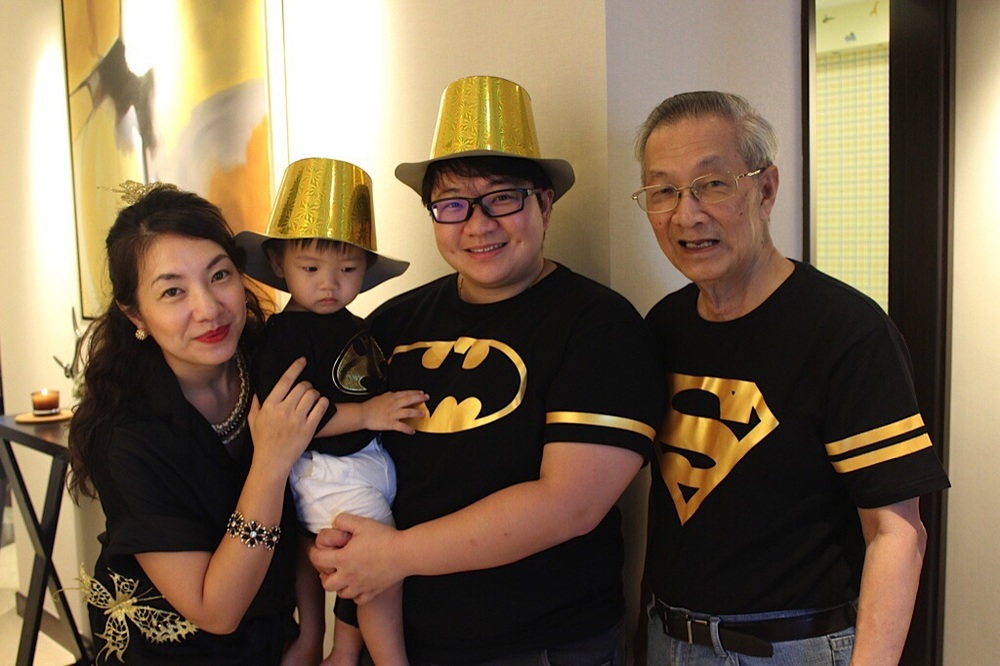 All dressed up in our Gold & Black theme! - Mic, Lucas, Elaine & Daddy