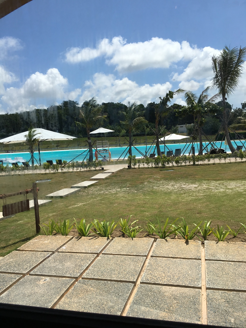 Our view from our tent entrance... Steps away from the lagoon pool!