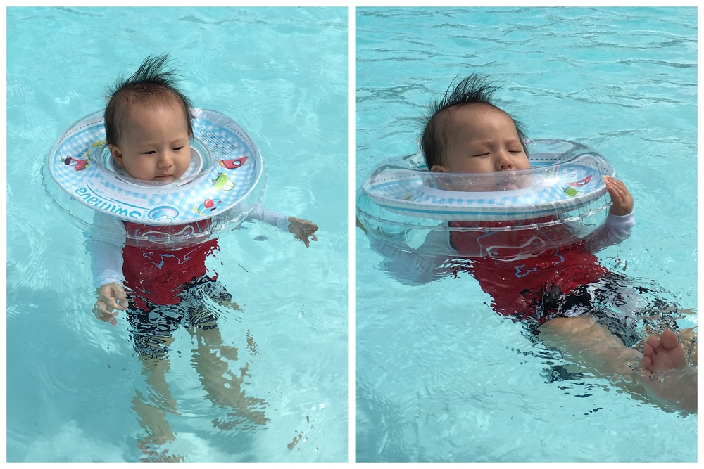 Lil X swimming all by himself!