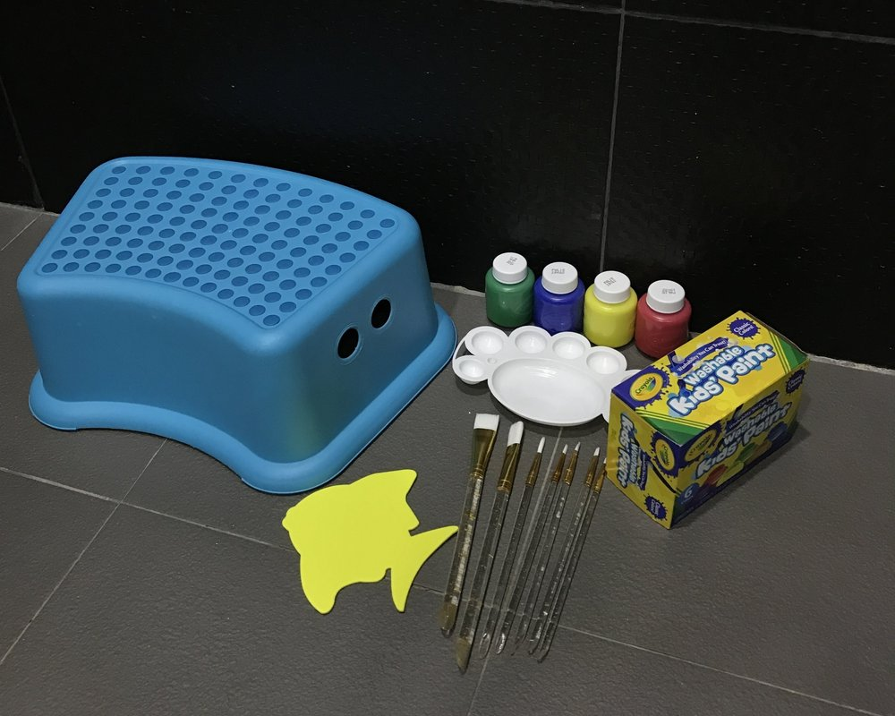 WASHABLE PAINT ALL READY FOR AXL IN THE SHOWER... NO WORRIES FOR MESS!