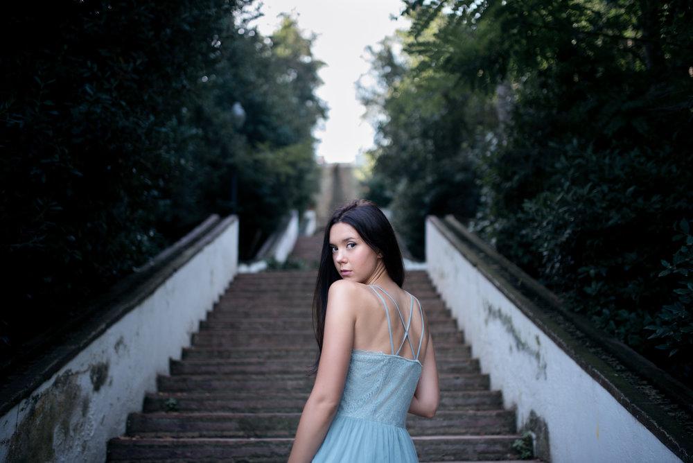 Girl stairs Barcelona Stavanger Portrait photography portrett fotograf