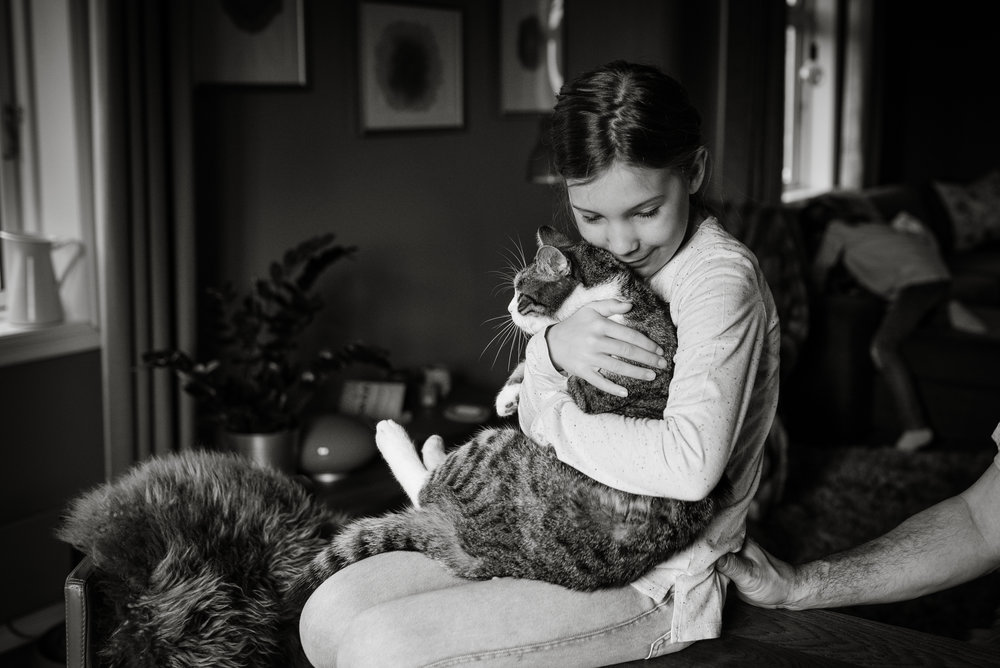 Familie fotografering Stavanger Family girl with her cat Guillem Cheung