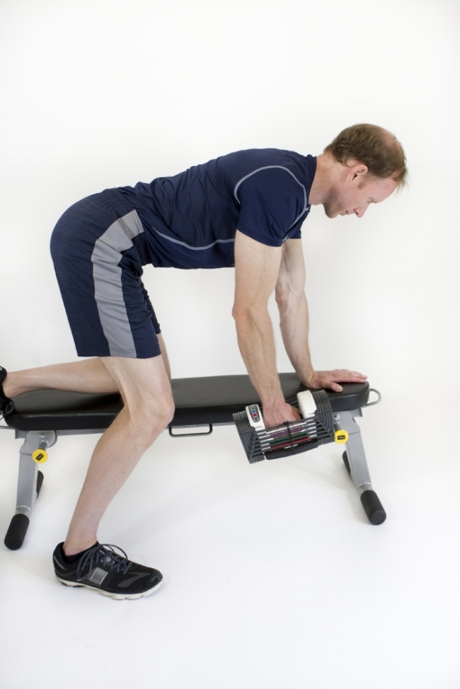 One-arm row: start position.