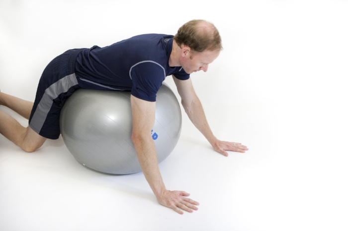 Stability-ball push-up: start position.