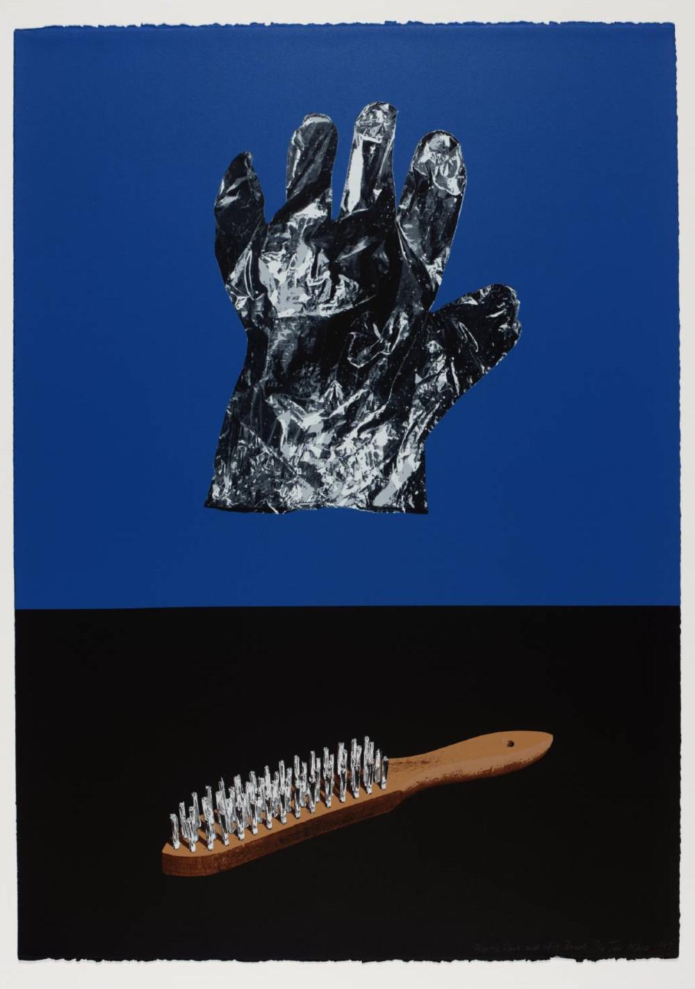 Printmaking genius Tim Mara. Plastic Glove and wire brush. 1993. Screenprint