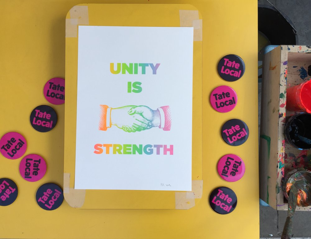 On Sunday 18th June we screenprinted posters with local residents on Union Street for the Great Get Together - a part of a nationwide event inspired by the late MP Jo Cox celebrating all that unites us. The workshop was free and all paid for and organised by Tate local.