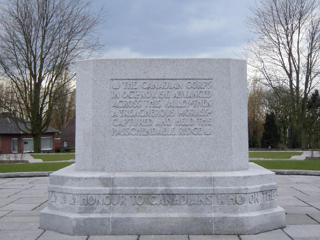 Canadian memorial at Crest Farm, in Zonnebeke, Belgium. The inscription reads: THE CANADIAN CORPS IN OCT.-NOV.1917 ADVANCED ACROSS THIS VALLEY-THEN A TREACHEROUS MORASS-CAPTURED AND HELD THE PASSCHENDAELE RIDGE