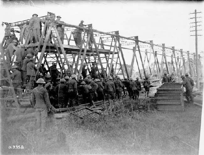 Canadian Combat Engineers building a bridge across the Canal du Nord, September 1918
