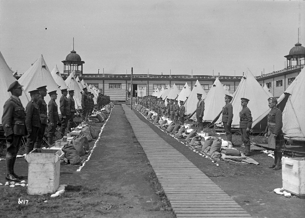 Soldiers of the 72nd in camp at Hastings Park. City of Vancouver Archives AM1535-: CVA 99-622