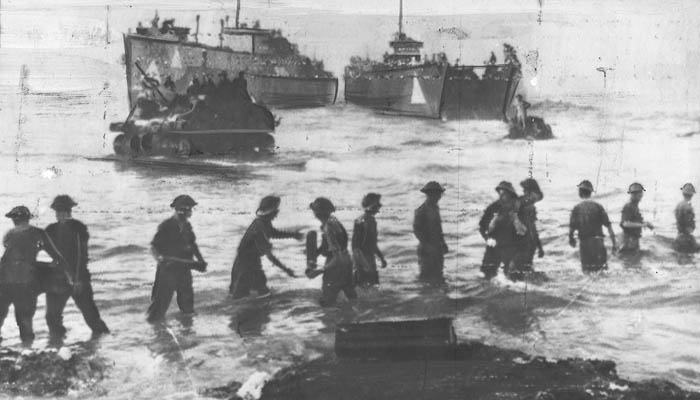 Troops unloading ammunition from ships and landing craft onto the beaches.