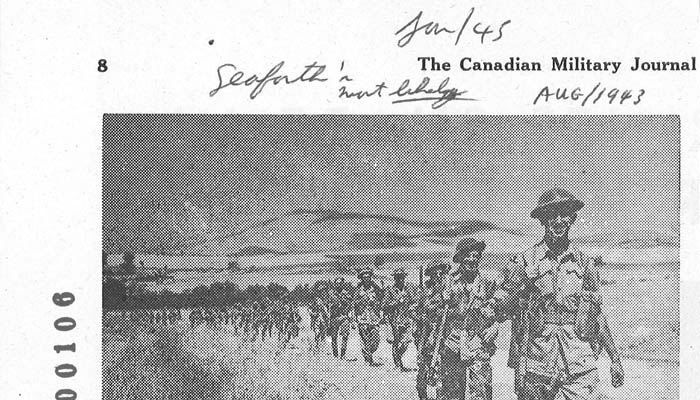 Highland troops marching from Regalbuto to Ademo (sic) Adrano, August 1943