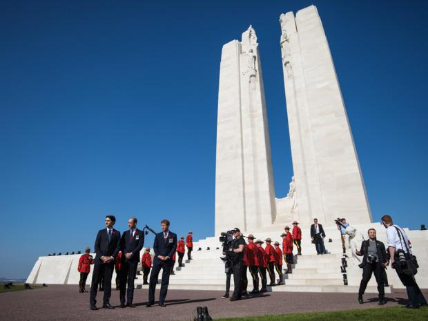 Canadian Prime Minister Justin Trudeau, Prince William, Duke of Cambridge and Prince Harry arrive at the Canadian National Vimy Memorial on April 9, 2017