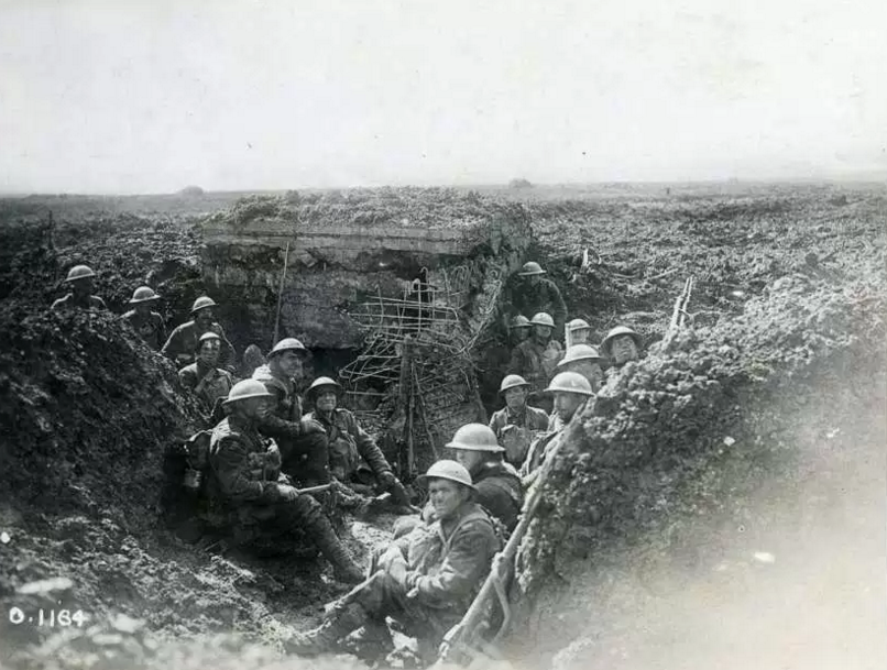 Canadian soldiers in a captured German machine-gun emplacement at the Battle of Vimy Ridge in April 1917. SUNMEDIA