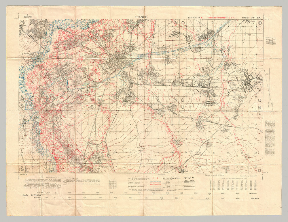 Vimy Ridge before the battle: the extent of the German defensive network is shown in red.