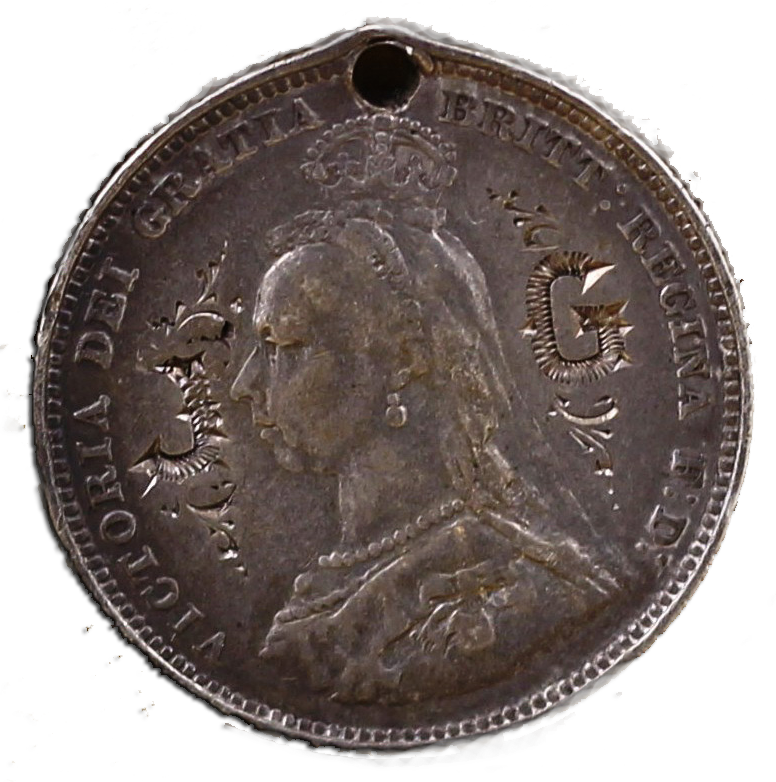 "John Gillies had this shilling stamped with his initials on the obverse and drilled so he could wear it, presumably to mark his ""taking the Queen's shilling"" i.e.: joining the British Army."
