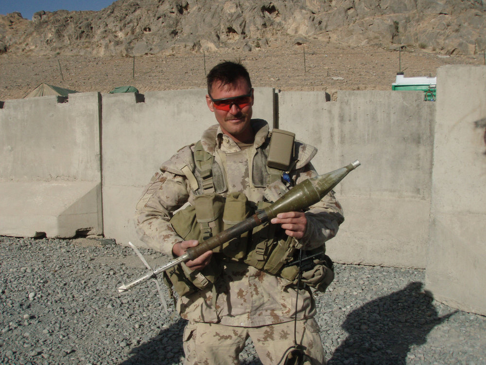 """What I did during my summer vacation"": a B-40 rocket from a Rocket-Propelled Grenade launcher destined to be destroyed along with a huge quantity of seized munitions, at Forward Operating Base Ma'sum Ghar, Kandahar, approx. Jan.-Feb. 2010"