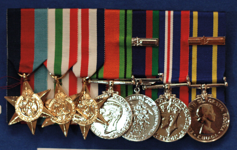 Left to right: 1939-45 Star, Italy Star (awarded for service in the Sicily and Italy Campaigns), France and Germany Star (awarded for service in the North West Europe Campaign), Defence Medal (for service in the UK during the Battle of Britain), Canadian Volunteer Service Medal (with bar for service overseas), War Medal 1939-1945