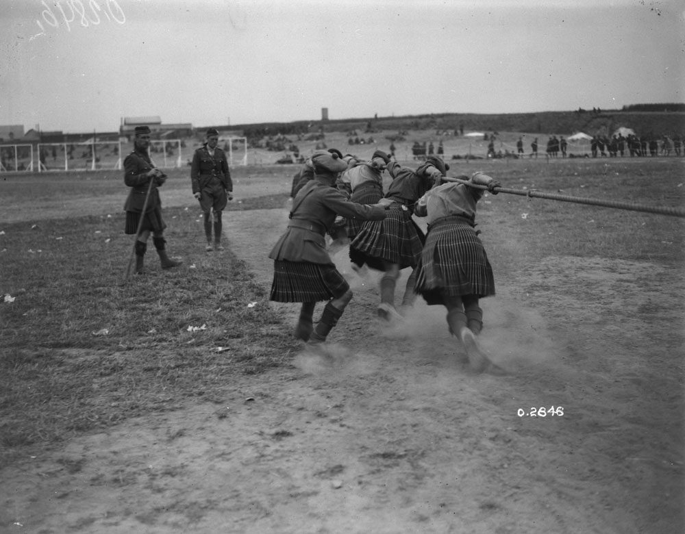 72nd Battalion Tug-of-War Team competing at Tincques, France July 6th 1918.