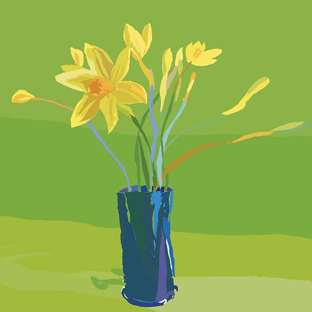 #eastersunday #daffodils #yellow #ipaddrawing #quicksketch #spring #colour