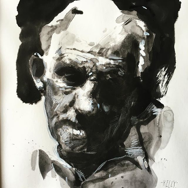 #portrait #drawing  of Sid #ink #watercolour #sketch #headstudy #blackandwhite #oldface #characterful