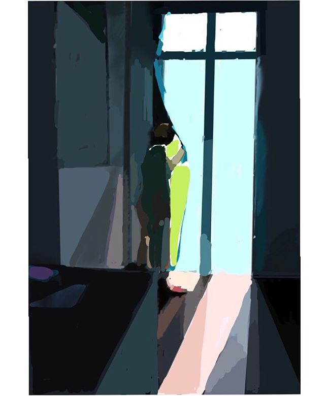 Figure at a curtain  #abstractspace #light #ipaddrawing #procreateapp #shapes #translucent #flatnessinspace #sketch #sunlight #interior